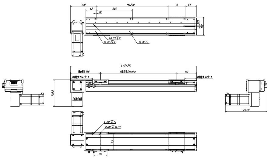 盖板式皮带直线模组图纸