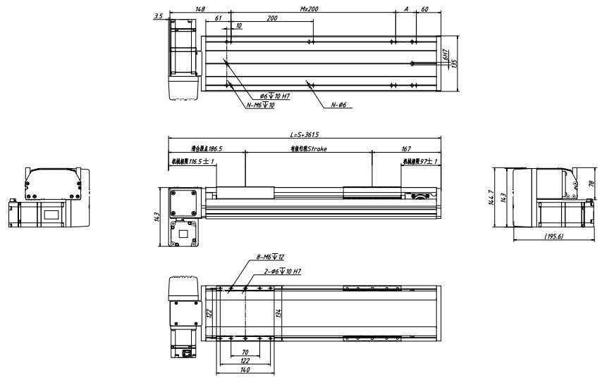 半封闭式同步带模组图纸