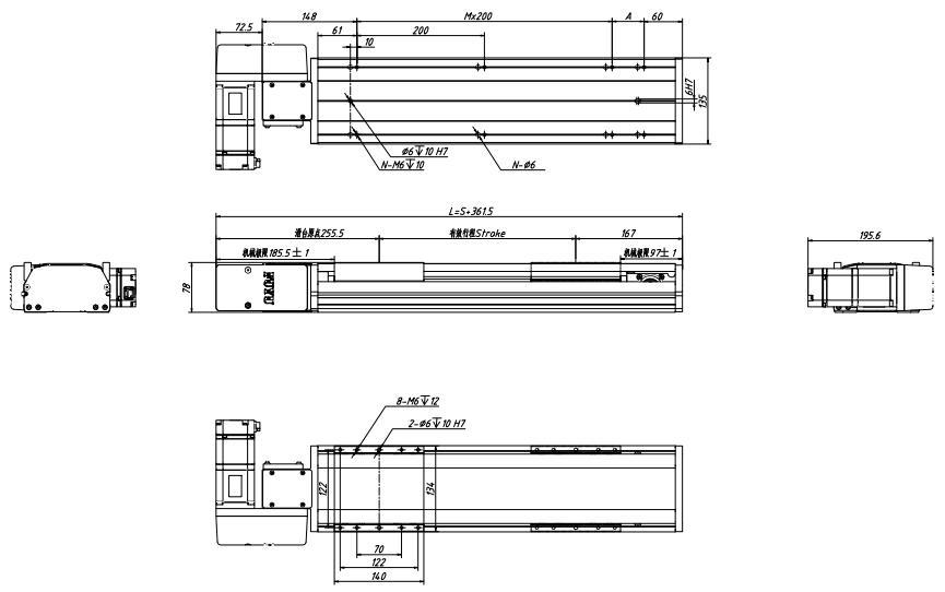 盖板式同步带模组图纸