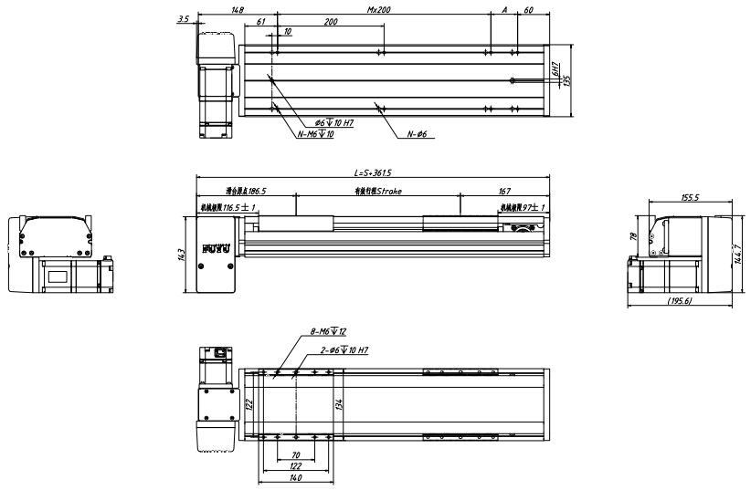 盖板式同步带直线模组图纸